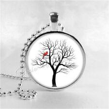 Cardinal In Tree Pendant Handmade Glass Necklace Memorial Jewelry Charm Red Bird