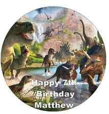 "Dinosaur Scene Personalised Cake Topper Edible Wafer Paper 7.5"""