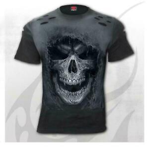 Spiral Direct Tattered Skull Mens T-Shirt Heavy Metal Gothic Tattoo Biker Rock