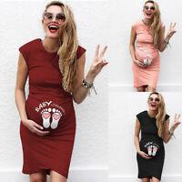 Women Pregnancy Maternity Casual Cartoon Print Tank Vest Sleeveless Short Dress
