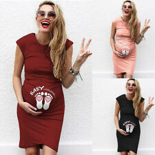 Womens Pregnancy Maternity Casual Cartoon Print Tank Vest Sleeveless Short Dress