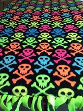 Fleece Knotted Tied Blanket - Skull & Crossbones - Neon - Handmade -Blanket