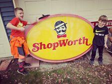 HUGE ShopWorth VTG Rare Light Up Advertising Sign Grocery Store Mustache Logo