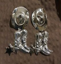 Rodeo queen .925 sterling silver hat/boot/star earrings - preowned