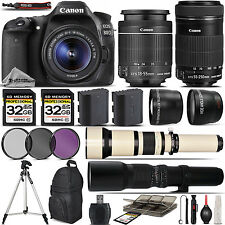 Canon EOS 80D Digital SLR WiFi Camera + 18-55mm + 55-250mm IS STM Lens -64GB Kit