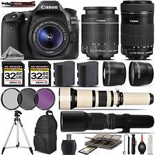 Canon EOS 80D Digital SLR WiFi Camera + 18-55mm + 55-250mm IS STM Lens -64GB Kit