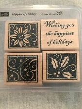 Stampin Up Happiest Of Holidays Set Of 4 Wood Mounted Rubber Stamp Su 2004