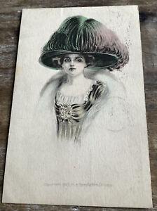 Vintage Postcard Woman Portrait Large Elaborate Hat Art Deco Signed McM