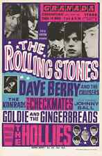 Rolling Stones, Hollies, Dave Berry. Granada, Greenford, London1965 repo poster.