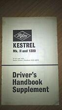 Riley Kestrel Mk11 and 1300, drivers handbook supplement 1967