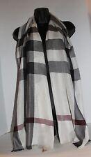 BURBERRY Check Silk & Cashmere Scarf White