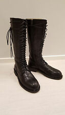 Ann Demeulemeester Tall Black Leather Lace-Up Boots