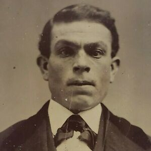 Strong Stoic Furled Brow Man Stare 1880s 1/6 Plate Tintype Ferrotype Photo C65
