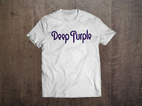 DEEP PURPLE Logo White Men T-shirt Hard Rock Band Fan Tee Shirt RAINBOW GILLAN