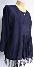 Navy Blue Fringed TUNIC top Free Size M 14 HIPPY retro Indian NEW old stock
