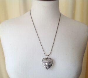 "Victorian Heart Vesta Case Locket Vinaigrette Scent Snuff Pendant Necklace 23"""