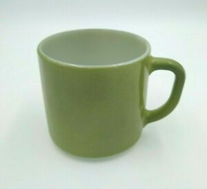 Vintage Federal Milk Glass Coffee Mug D Handle Olive Green U.S.A. Heat Proof