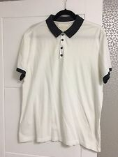 MENS RIVER ISLAND WHITE POLO SHIRT WITH NAVY BLUE COLLAR - XL (SMALL FIT)
