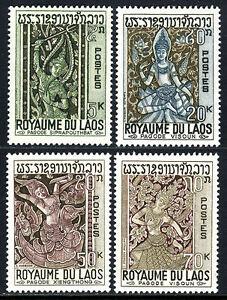 Laos 141-144, Mnh.sculptures De Siprapouthbat, Visoun, Xiengthong Temples, 1967