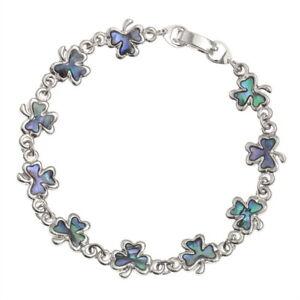 "Shamrock Link Bracelet Paua Abalone Shell Silver Fashion Jewellery 7.5"""