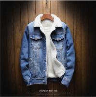 Men's Fleece Lined Winter Warm Coat Denim/Jean Fur Jacket Trucker Collar XL-5XL
