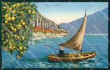 Brescia Gardone Riviera Barca Lago di Garda PIEGA cartolina QT4756