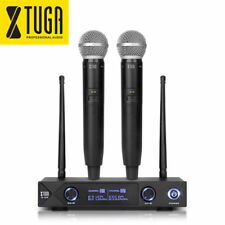 Wireless Microphone System UHF 2-Channel 2-Cordless Handheld Mic LCD Display