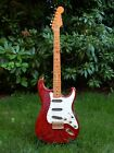 Stratocaster by KUBICKI; Quilted-Birdseye-Maple-Hals; massiver Red Koa Body  for sale