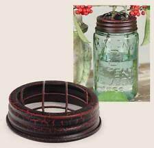2 METAL Mason or Ball Canning Jar FLOWER Vase FROG LID Rustic Crackle Black/Red