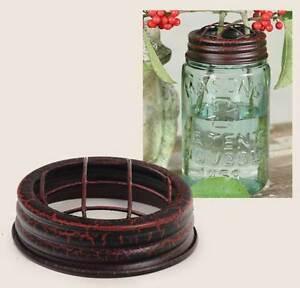 METAL Mason or Ball Canning Jar FLOWER Vase FROG LID Rustic Crackle Black/Red