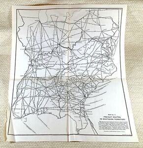 1916 Antique Railway Map The American Railroad System Freight Cargo Routes