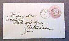 1864   Lincolnshire Stationery  1d envelope 321 Grantham  (Duplex) to Cheltenham