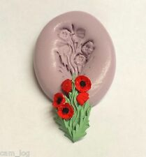 Poppy Flowers Food Safe Silicone Mould,Sugarcraft Cup Cake Card Topper, Fimo