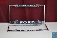 1966 Ford Car Pick Up Truck Front Rear License Plate Holder Chrome Frames New