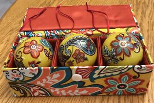 Vera Bradley Christmas Ornament Trio & Gift Box Case 2012 Provencal, B38