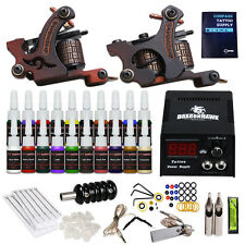 Complete Tattoo Kit 2 Machine Guns 20 color Inks Power Supply Set Needles HW-9GD