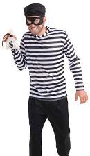 Burglar Adults Men's Classic Costume Horizontal Black & White Striped Shirt
