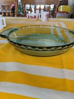 """Anchor Hocking Deep Dish Pie Pan Plate 9"""" Green Tint 1 QT 1075 Oven Microwave"""