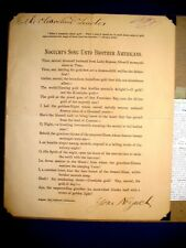 """1897 Autographed Poem Noguchi""""s Song Unto Brother Americans From Columbian Readr"""