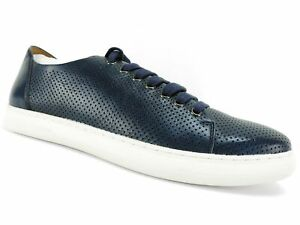 Donald / Pliner Men's Calise Perforated Calf Leather Sneakers Navy Size 10.5 M