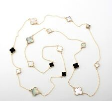 """New YGP & Mother of Pearl  Onyx 16 Motif Clover Necklace Set  Alhambra 50"""""""
