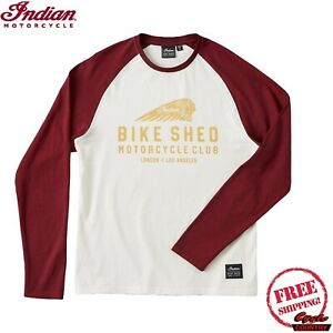 Unisex BSMC x Indian Motorcycle Long Sleeve Baseball Tee, Port/Cream