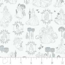 Disney Princesses Toile in Stone Camelot 100% cotton fabric by the yard