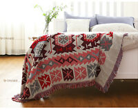 Bohemian blanket geometric sofa blanket throw cotton woven rug tapestry ethnic