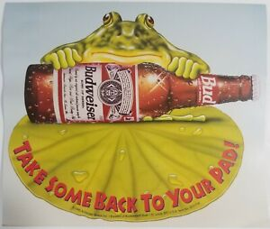 1995 Budweiser Advertising Poster Frog Lily Pad Bud Vintage 2 sided