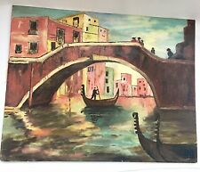 Oil On Panel Painting of Ponte Del Mondo Venice. Unknown Artist. Impressionism.