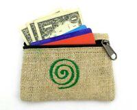 Hemp Coin Purse Green Spiral Bag Pouch Credit Card ID Holder Vegan Wallet