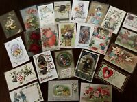 HOLIDAY GREETING POSTCARDS~EASTER~VALENTINES~XMAS~THANKSGIVING~MIXED LOT OF 25-a