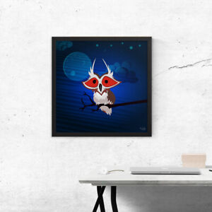 Wall art, Creepy red eye owl at night, Framed picture, Home decoration