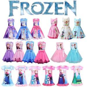 Girls Frozen Anna Elsa Princess Dress Birthaday Party Prom Skater Tutu Dresses